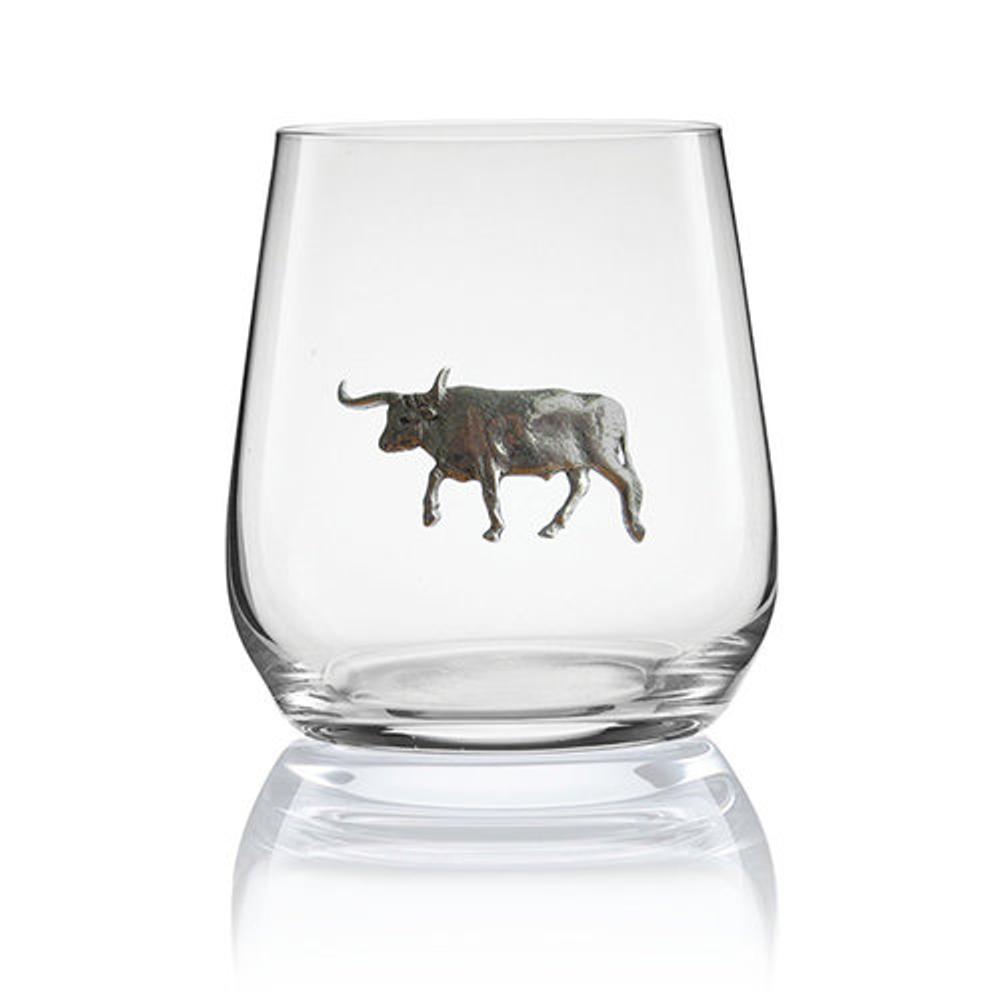 Longhorn Stemless Wine/Cognac Glass Set of 2 | Menagerie | M-SRW1-LH068
