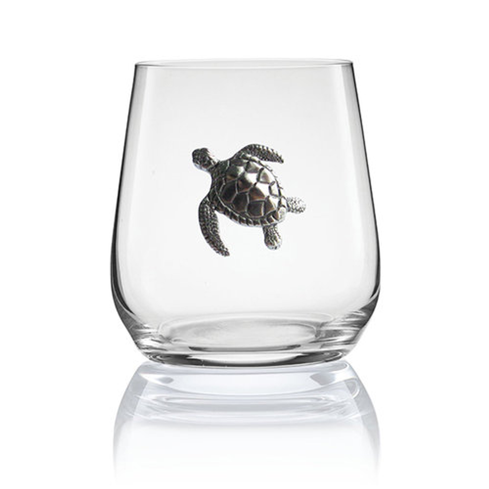 Sea Turtle Stemless Wine/Cognac Glass Set of 2 | Menagerie | M-SRWS92-404