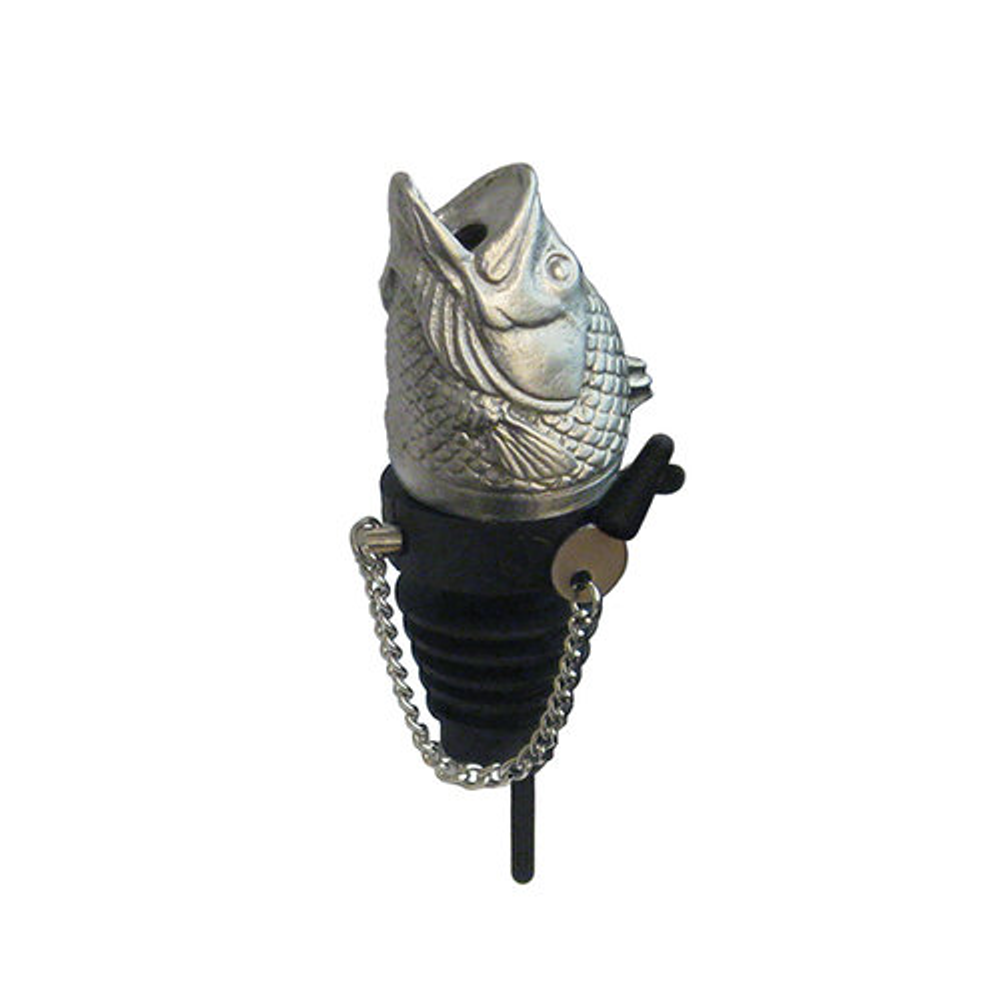 Stainless Steel Carved Bass Whiskey/Spirits Pourer - Aerator | Menagerie | M-MWSP-B1291
