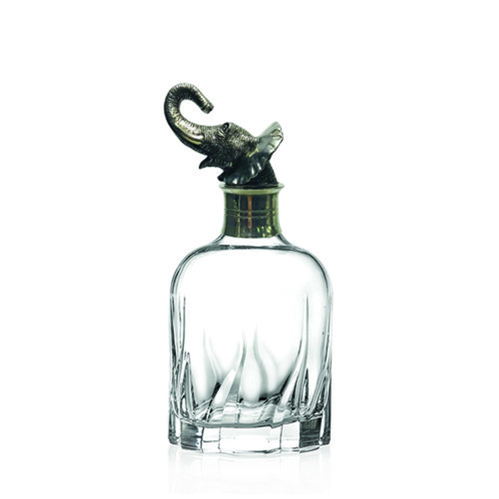 Carved Pewter Elephant Modern Decanter | Menagerie