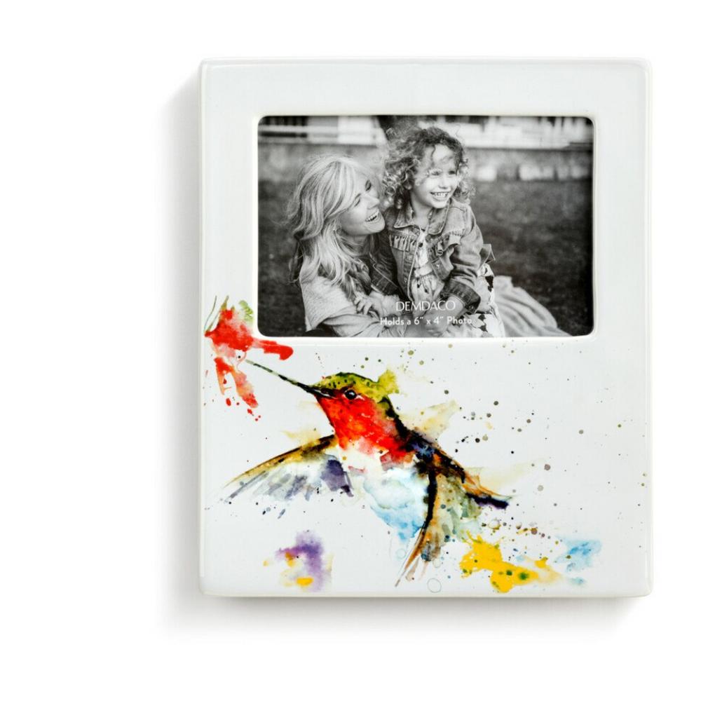 Hummingbird and Flower 4x6 Stoneware Photo Frame | Big Sky Carvers | BSCB1004610087