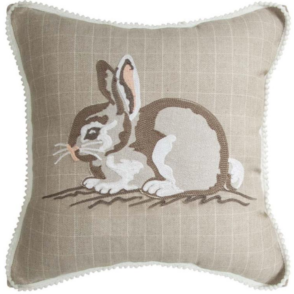 Embroidered Bunny Throw Pillow  | MWW2-1200IPFSBP