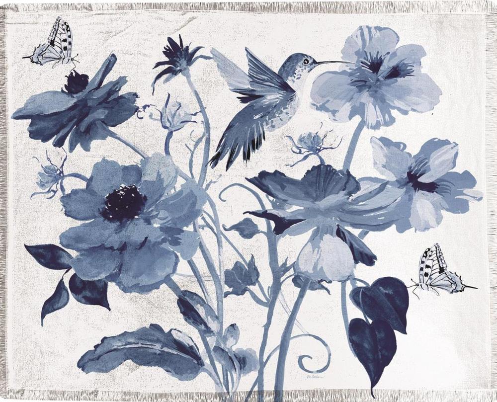 Colibri Blue Hummingbird and Butterflies Poly Throw Blanket   SACEFV