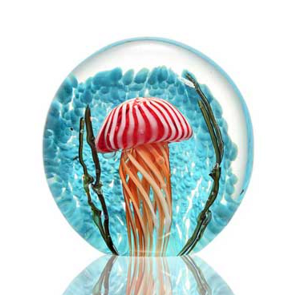 AG Striped Jellyfish Art Glass Sculpture | 76141| SPI Home
