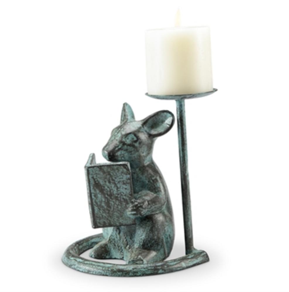 Reading Mouse Pillar Candleholder | SPI Home | 64051