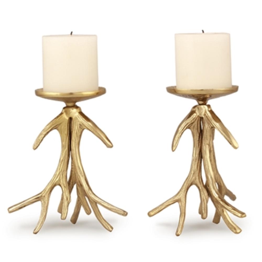 Antler Pillar Candleholder Set of 2 | 21050 | SPI Home