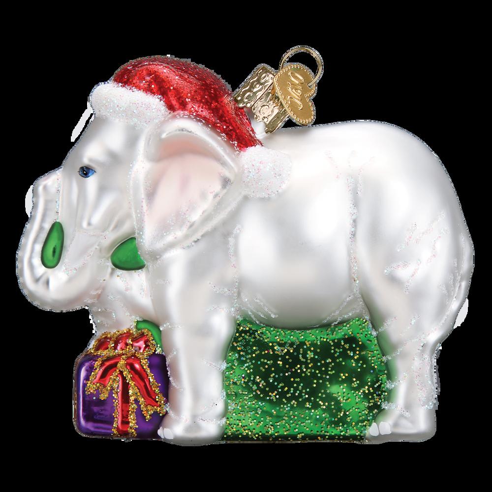 White Elephant Glass Ornament   12592
