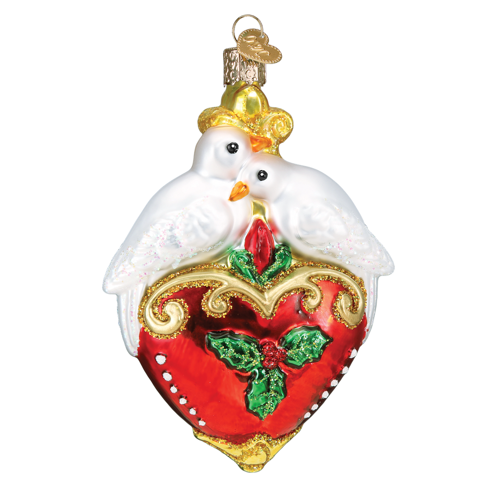 Two Turtle Doves Glass Ornament   OWC16135