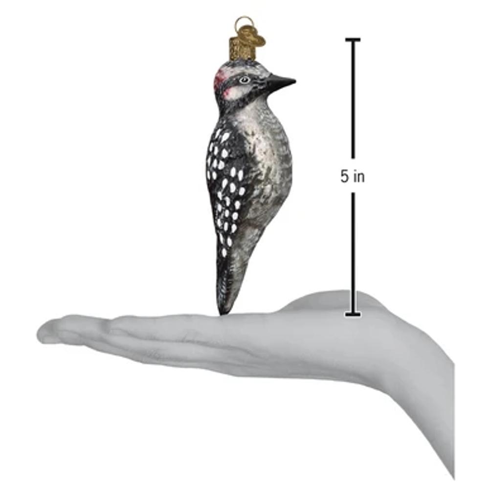 Vintage Hairy Woodpecker Glass  Ornament