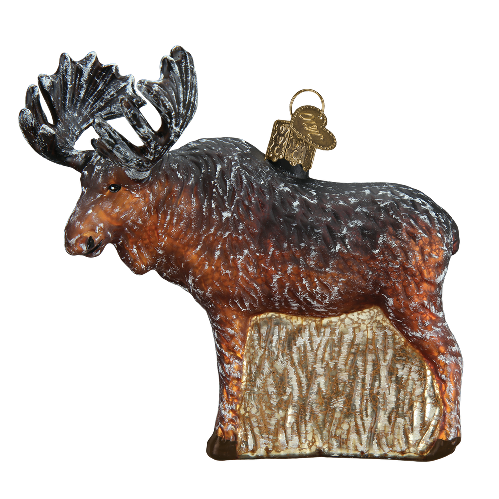 Vintage Moose Glass  Ornament