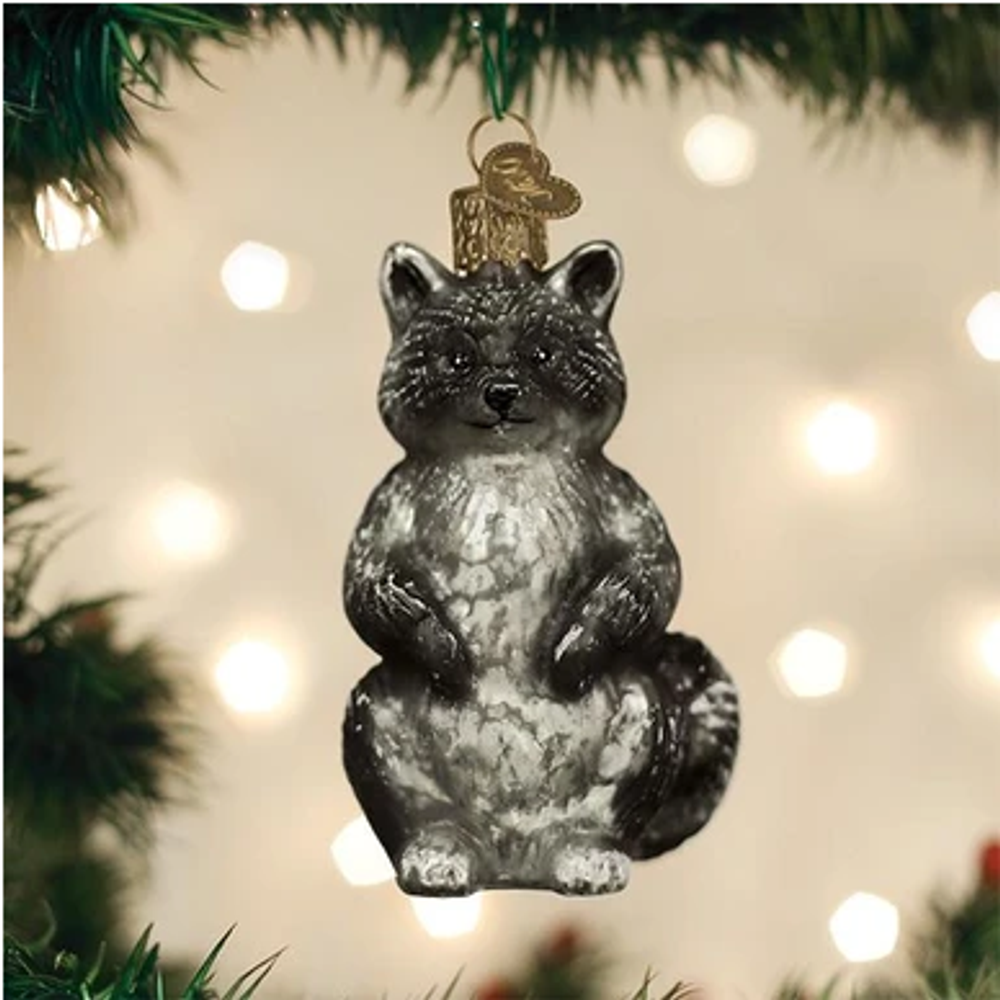 Vintage Raccoon Glass Ornament   OWC51010