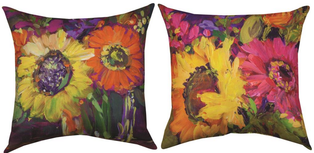 Floral Workshop Sunflowers Indoor Outdoor Throw Pillow