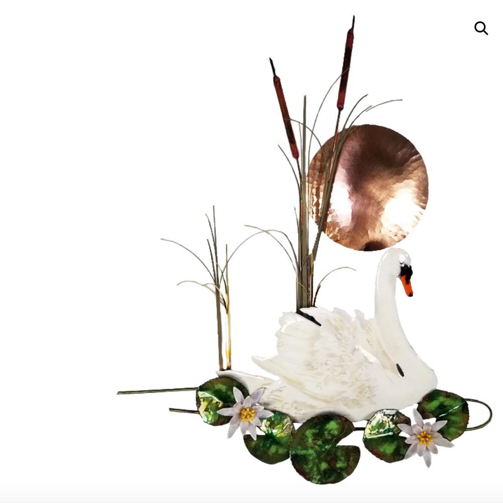 Bovano Swan with Sun and Waterlilies Wall Art| W161