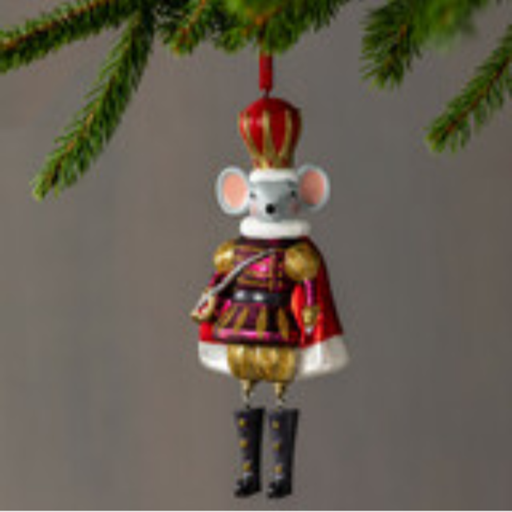 Blown Glass Mouse King Ornament | Big Sky Carvers | BSC