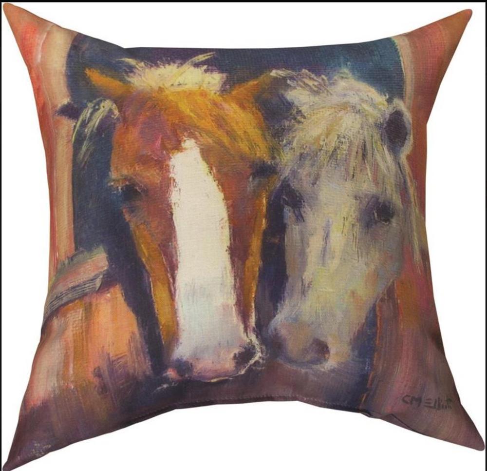 Horse Color Good Friends Outdoor Throw Pillow | SLGOOD