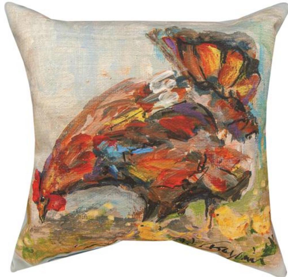Rooster Garden Brown Indoor Outdoor Throw Pillow   MWWSLHRO