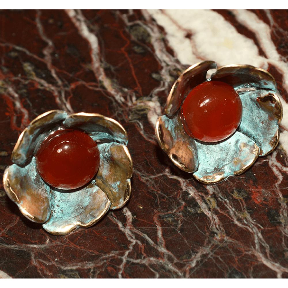 Sculptural Floral Earrings - Carnelian   Elaine Coyne Jewelry   ECFP316eCA