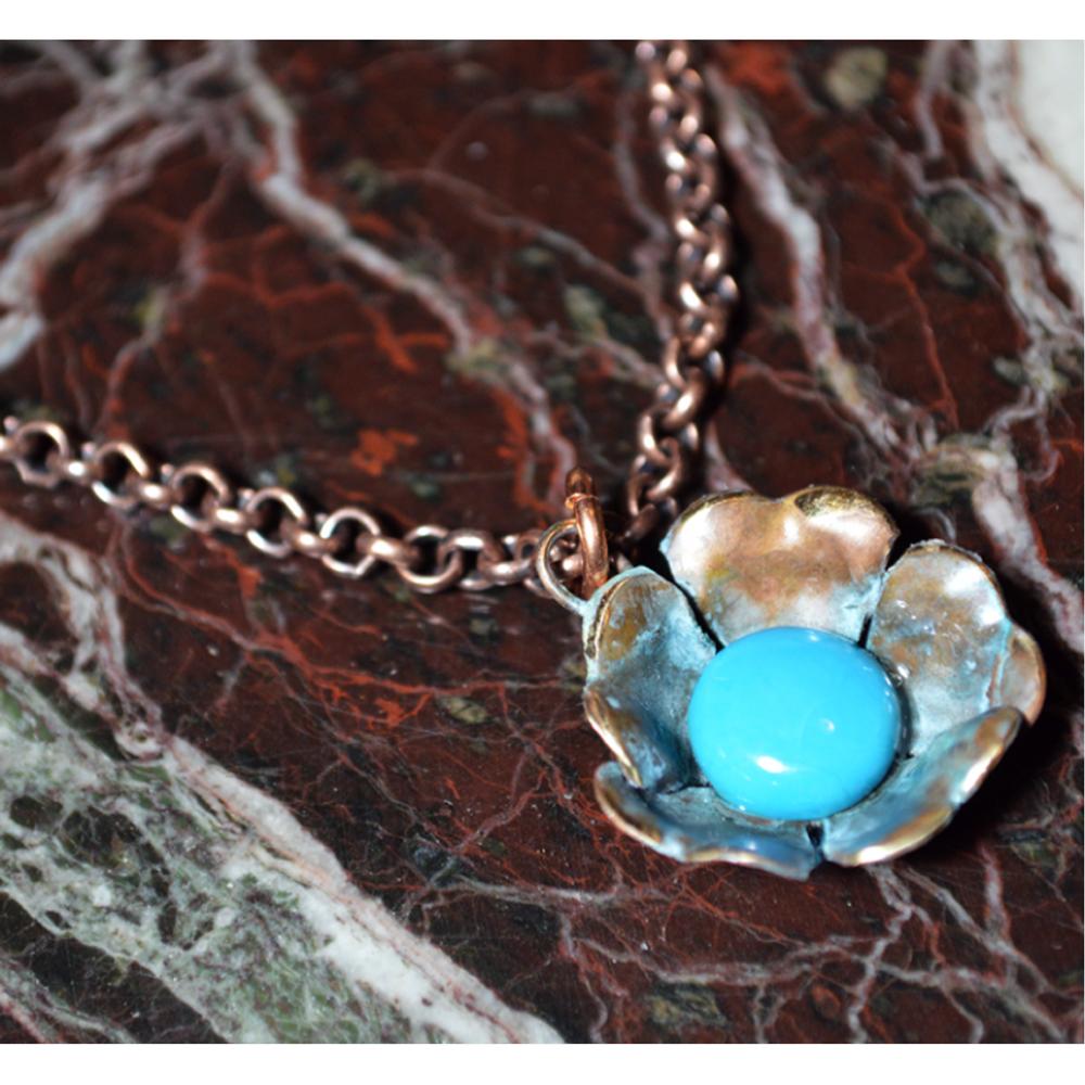 Sculptural Floral Necklace - Turquoise   Elaine Coyne Jewelry   ECFP316pdTU