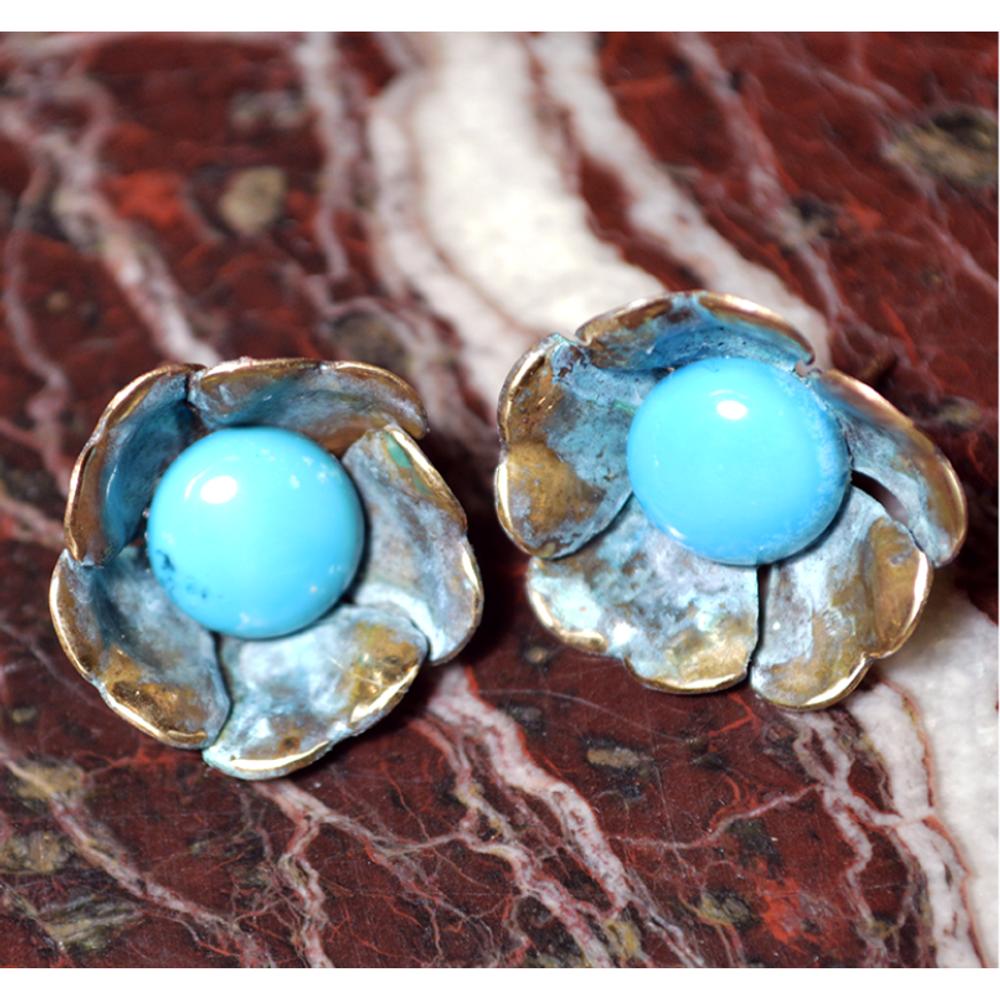 Sculptural Floral Earrings - Turquoise | Elaine Coyne |