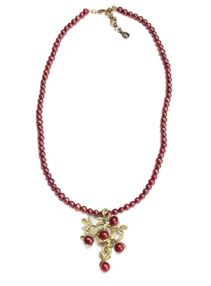 Cranberry Pearl Pendant Necklace | Michael Michaud Jewelry | SS8055bzcr
