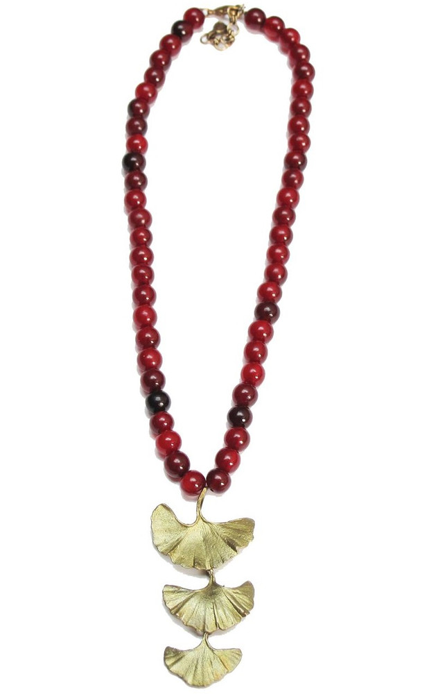 Red Horn Bead Gingko Necklace | Michael Michaud Jewelry | SS8168bzrh