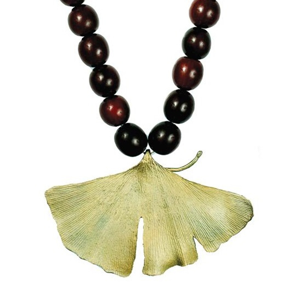 Red Horn Gingko Bold Necklace | Michael Michaud Jewelry | SS8169bzrh -2