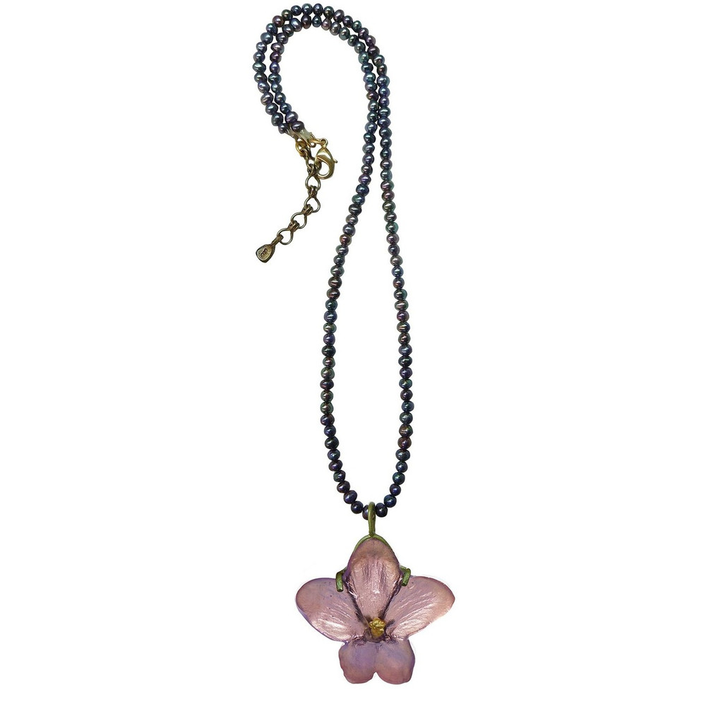 African Violet Pendant on Pearl Necklace | Michael Michaud Jewelry | SS8924BZPK