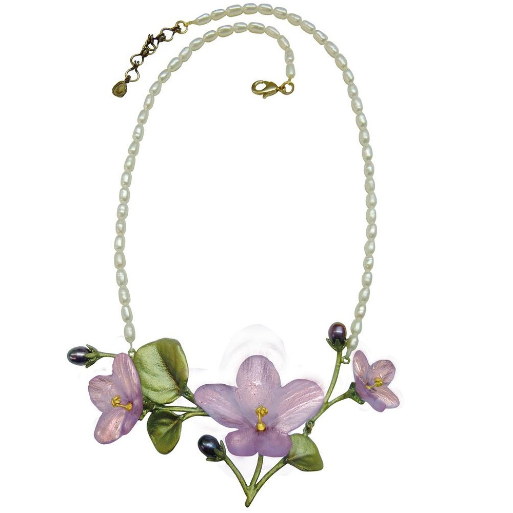 African Violet Necklace Pendant on Pearl | Michael Michaud Jewelry | SS8926BZPK