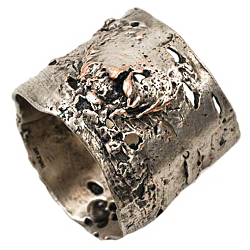 Pewter Birch Bark Napkin Rings Set of 4    Michael Michaud Table Art   TAnr9398ap