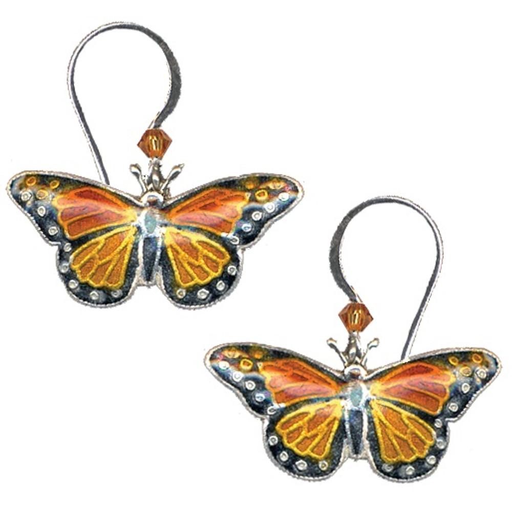 Monarch Butterfly Cloisonne Wire Earrings | Bamboo Jewelry | BJ0003e