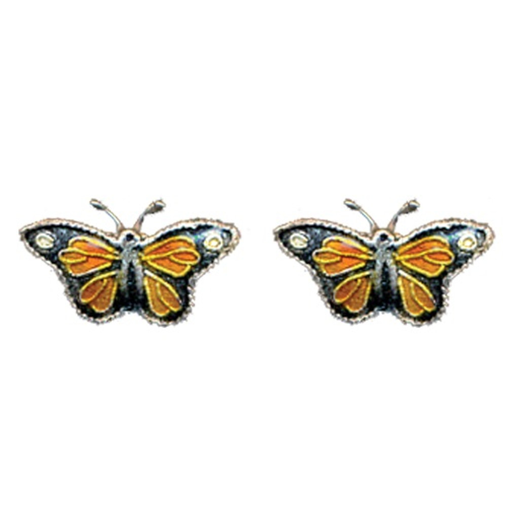 Monarch Butterfly Cloisonne Post Earrings | Bamboo Jewelry | bj0003pe -2