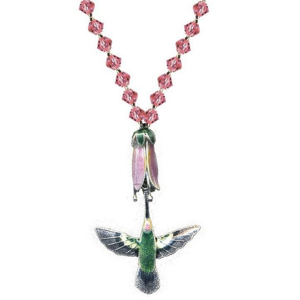 Hummingbird with Pink Flower Cloisonne Necklace | Bamboo Jewelry | BJ0014cyn