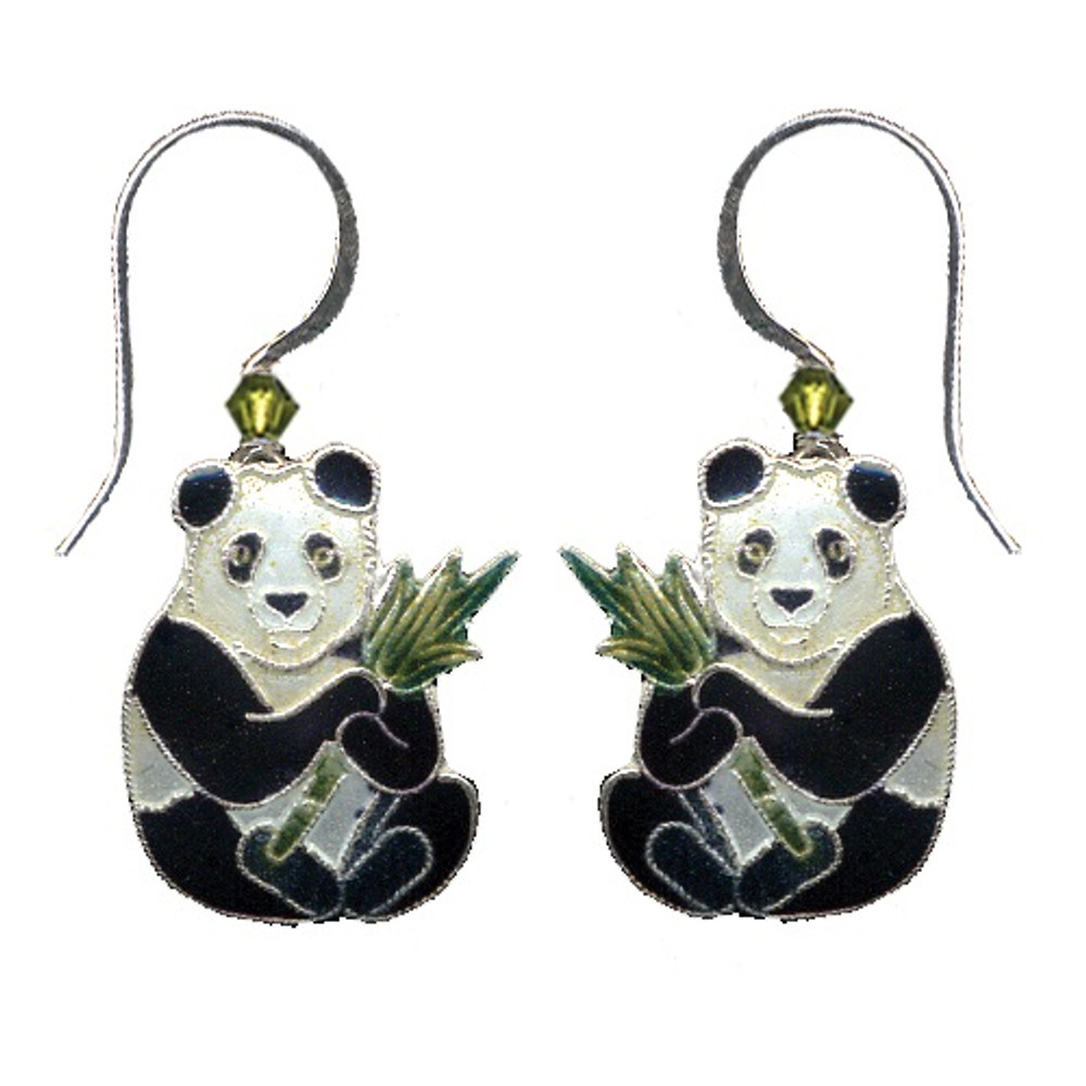 Panda with Bamboo Cloisonne Wire Earrings | Bamboo Jewelry | bj0021e