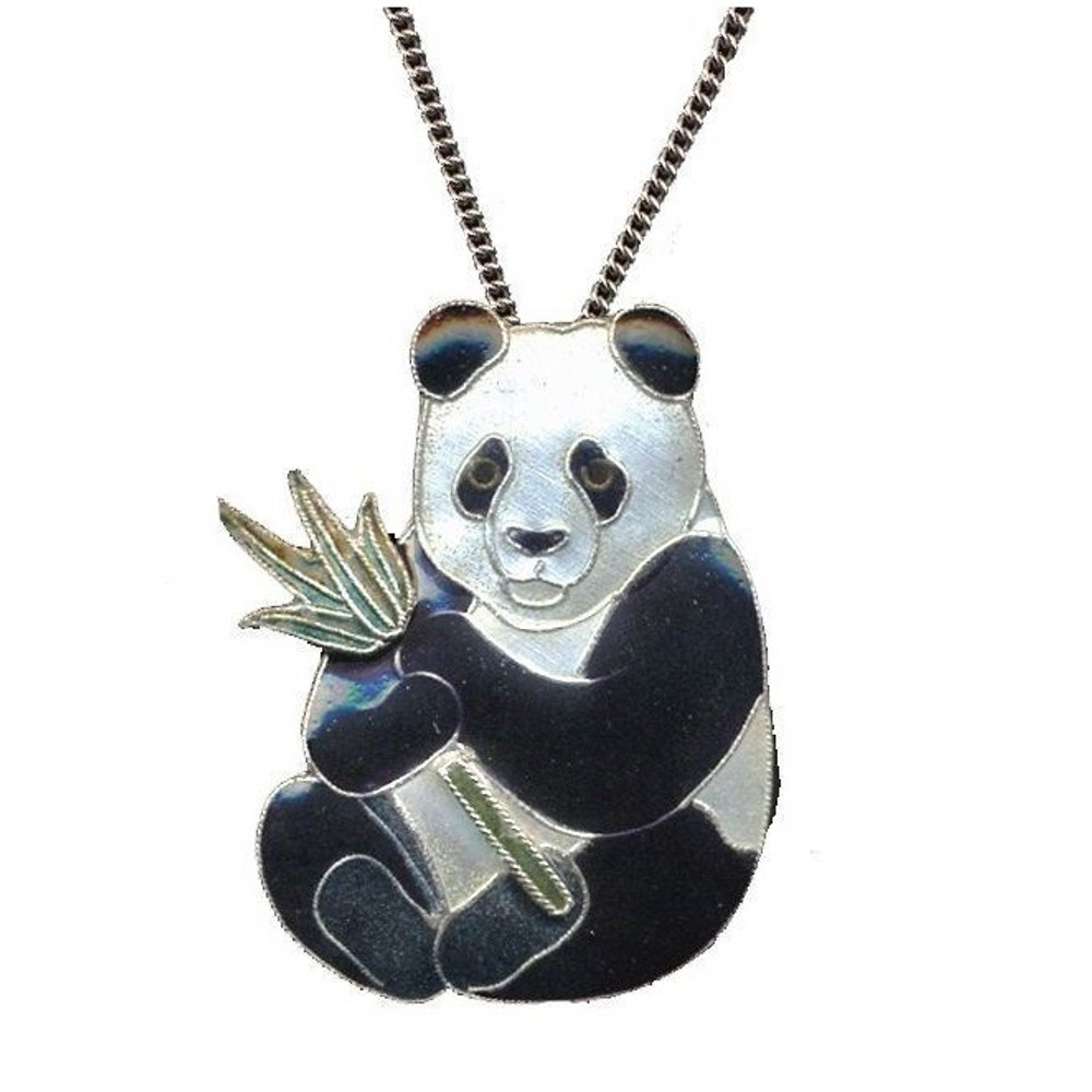 Panda with Bamboo Cloisonne Large Necklace | Bamboo Jewelry | bj0021ln