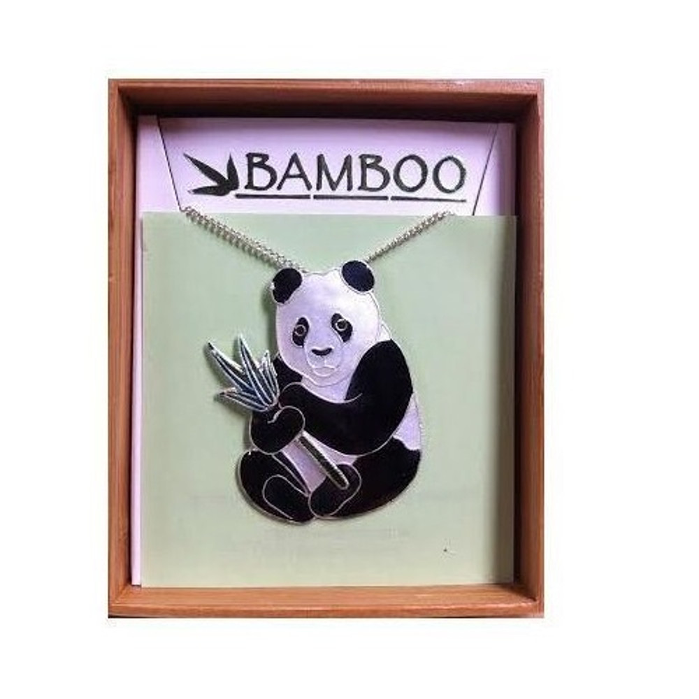 Panda with Bamboo Cloisonne Large Necklace | Bamboo Jewelry | bj0021ln -2