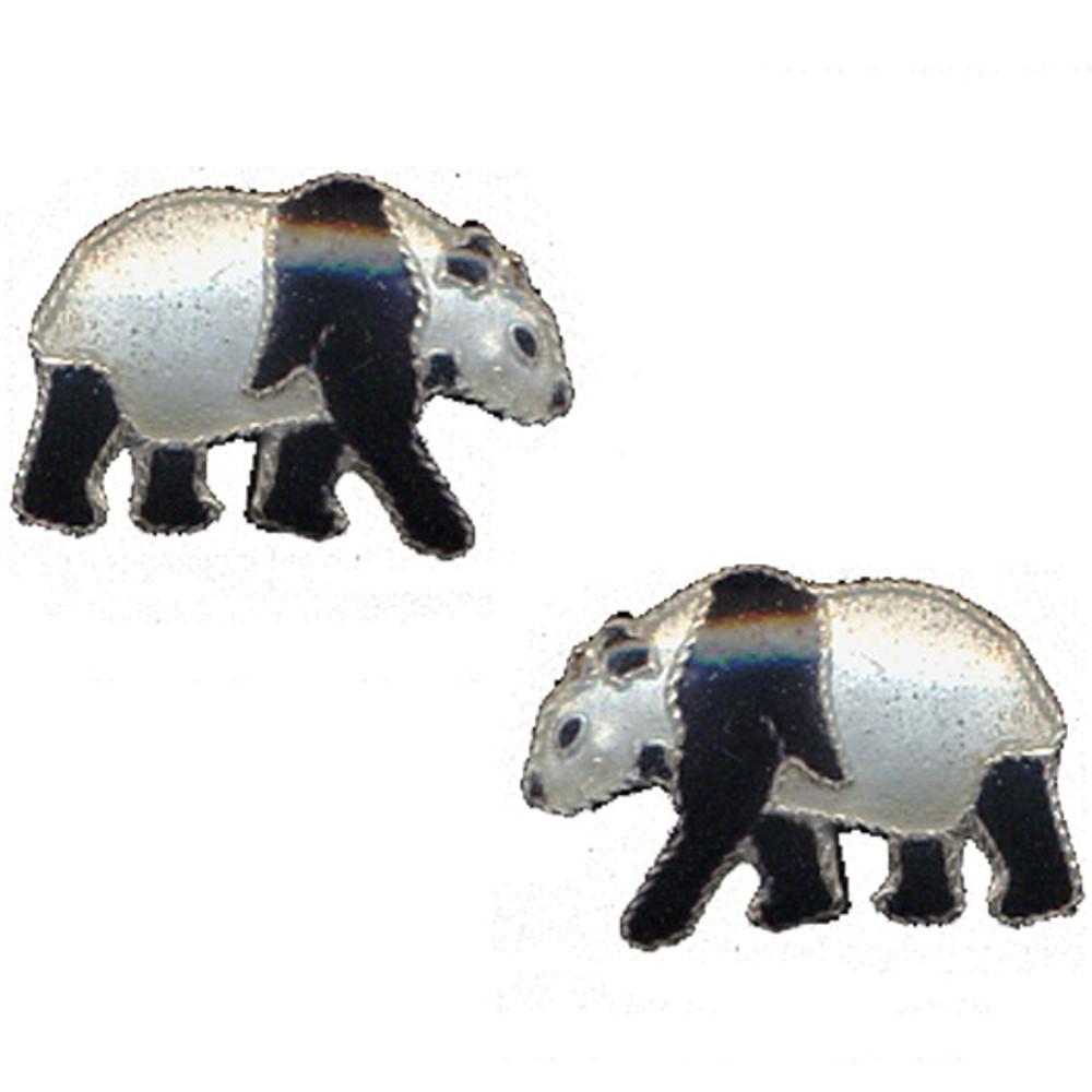 Walking Panda Cloisonne Post Earrings | Bamboo Jewelry | bj0023pe