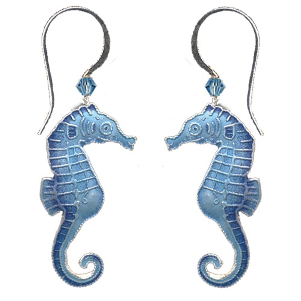 Blue Seahorse Cloisonne Wire Earrings   Bamboo Jewelry   bj0030e