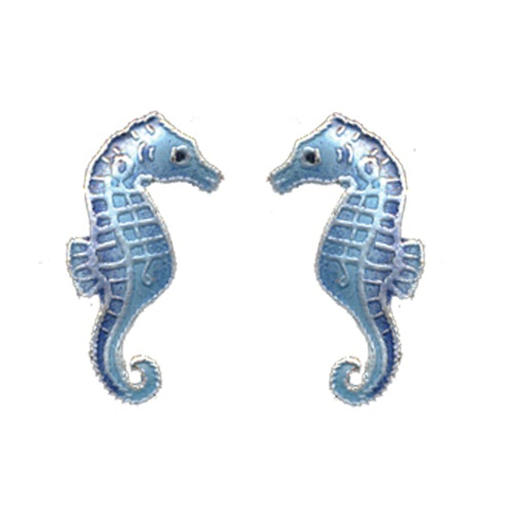 Blue Seahorse Cloisonne Post Earrings | Bamboo Jewelry | bj0030pe