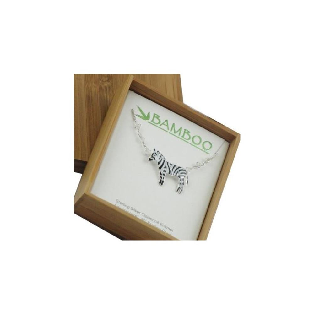Zebra Cloisonne Necklace | Bamboo Jewelry | bj0037sn