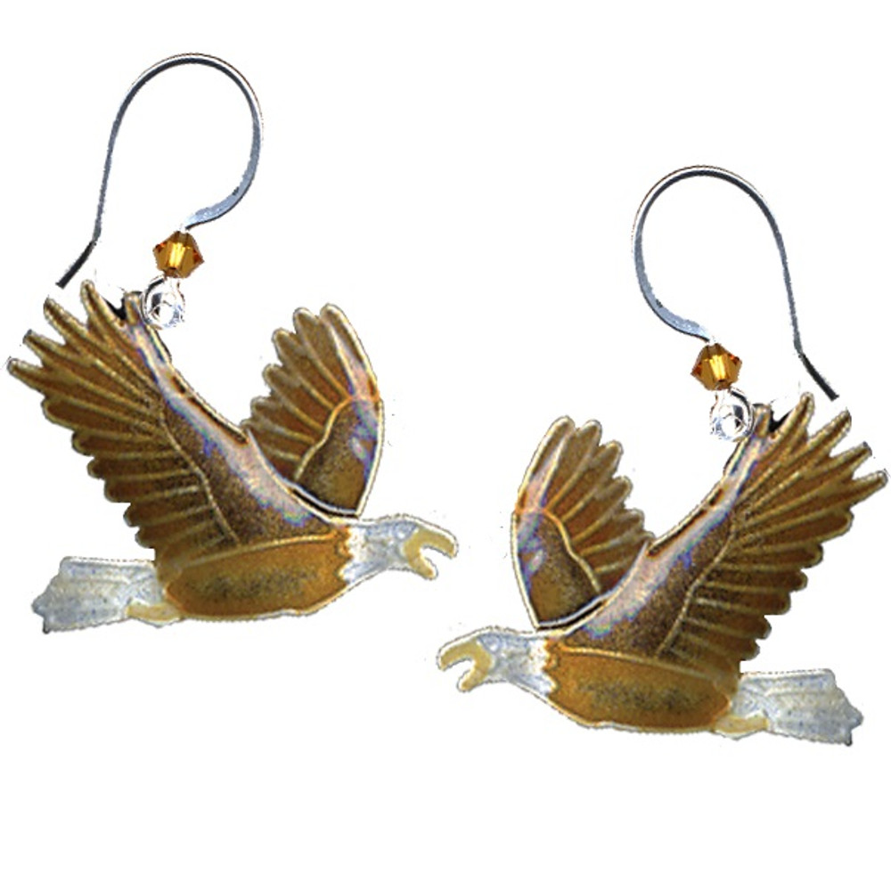 Eagle Cloisonne Wire Earrings | Bamboo Jewelry | bj0052e