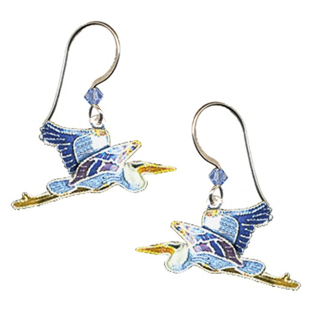 Great Blue Heron Cloisonne Wire Earrings | Bamboo Jewelry | bj0053e