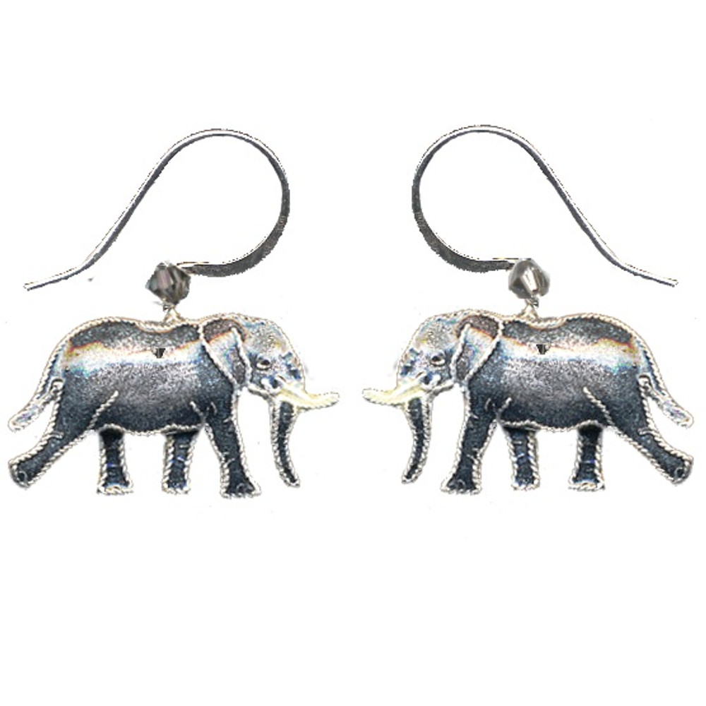 Jungle Elephant Cloisonne Wire Earrings | Bamboo Jewelry | bj0057e