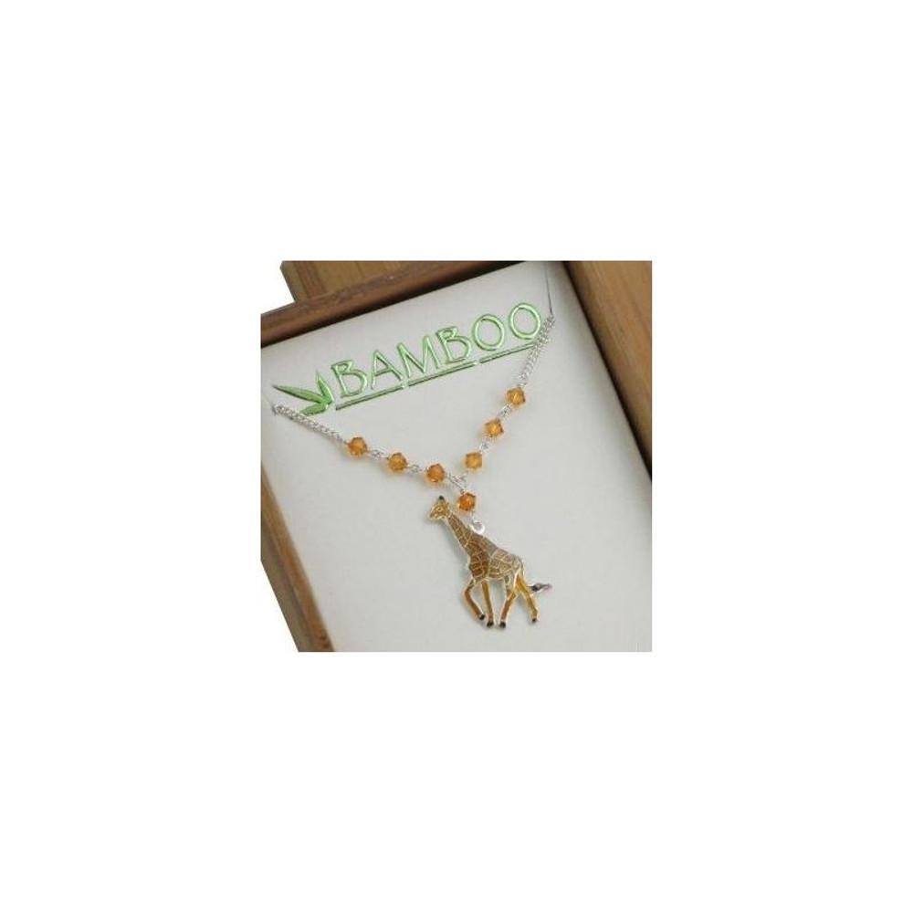 Giraffe Cloisonne Necklace | Bamboo Jewelry | 0058sn