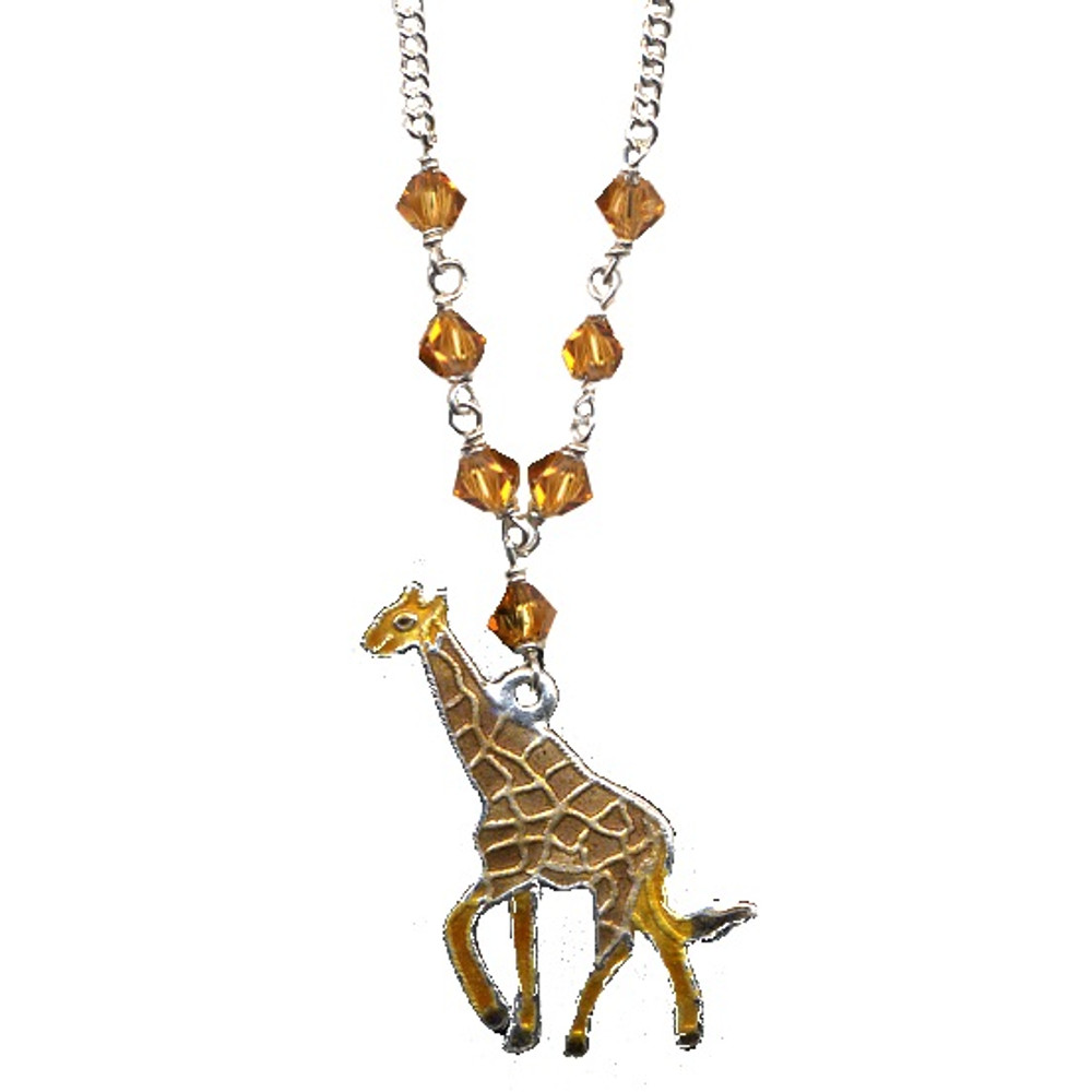 Giraffe Cloisonne Necklace | Bamboo Jewelry | 0058sn -2