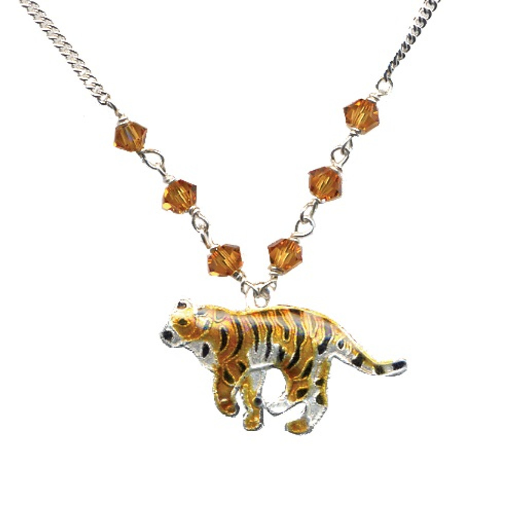 Tiger Cloisonne Small Necklace | Bamboo Jewelry | bj0062sn