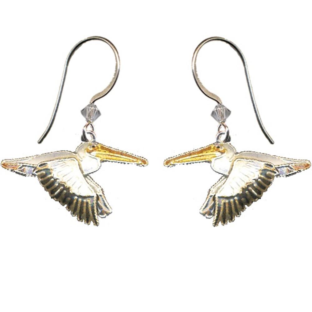White Pelican Cloisonne Wire Earrings | Bamboo Jewelry | bj0064e