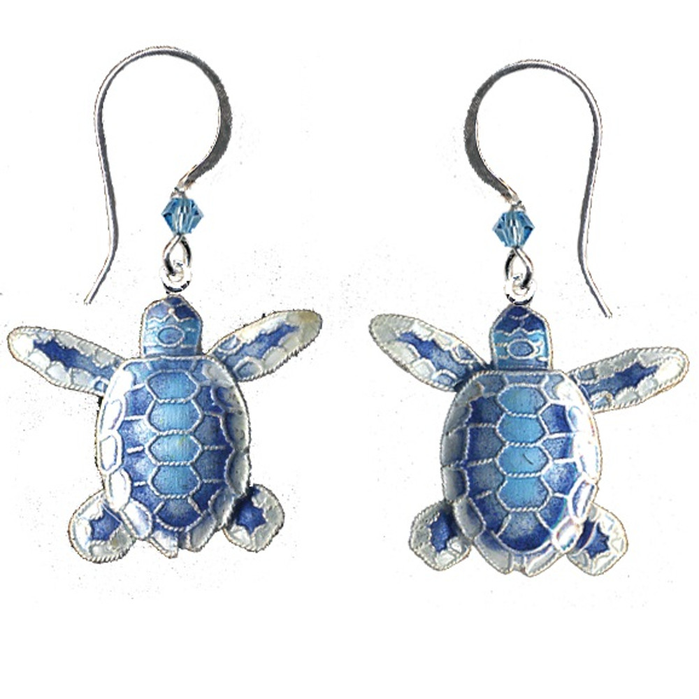 Blue Flatback Hatchling Turtle Cloisonne Wire Earrings | Bamboo Jewelry | BJ0074e