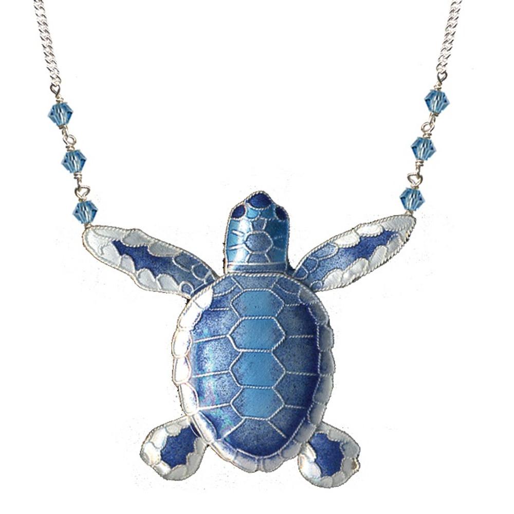 Blue Flatback Hatchling Turtle Cloisonne Large Necklace   Bamboo Jewelry   BJ0074ln