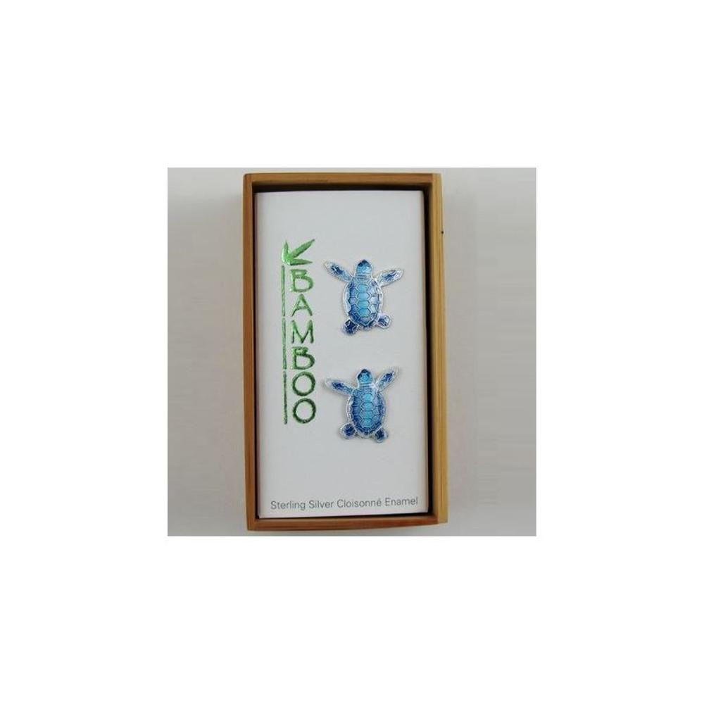 Blue Flatback Hatchling Turtle Cloisonne Post Earrings | Bamboo Jewelry | BJ0074pe