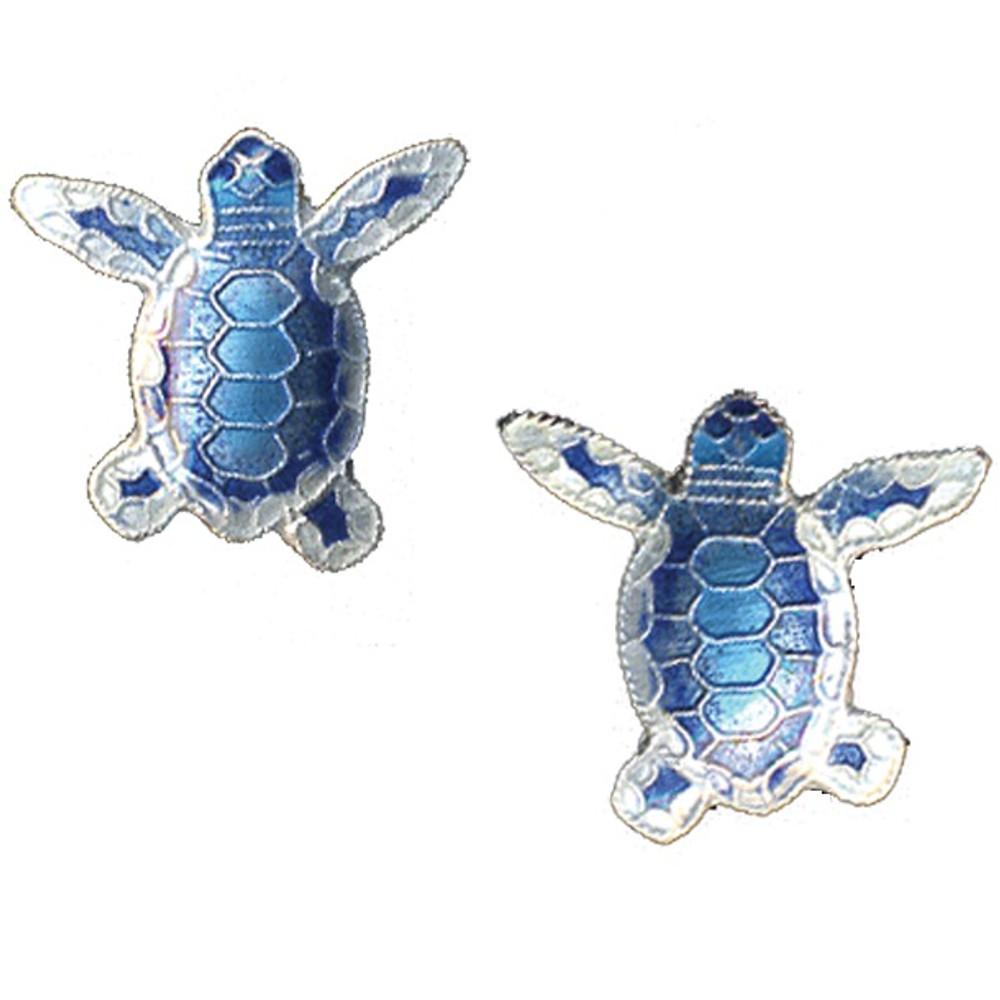Blue Flatback Hatchling Turtle Cloisonne Post Earrings | Bamboo Jewelry | BJ0074pe -2